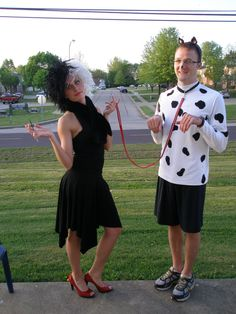 Couples Halloween costume -Cruella Deville and a dalmation