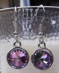 "1.5"" Dangly Swarovski Multicolor Rivoli Pierced Earrings ~ FREE USA Shipping!  $14  https://www.etsy.com/listing/212931526/15-dangly-swarovski-multicolor-rivoli?  SOLD!"