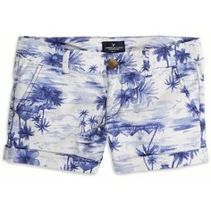 American Eagle Factory Patterned Midi Shorts ($30) ❤ liked on Polyvore featuring shorts, bottoms, clothes and shoes, pants, blue, american eagle outfitters shorts, midi shorts, cuffed shorts, blue shorts and print shorts