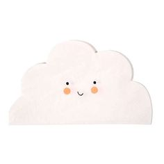 """7"""" SMALL CLOUD NAPKINS - These delightful napkins come in the shape of clouds and are finished with a cute smiley face. Boutique style partyware by Meri Meri. Pack contains 20 napkins. Napkin size: (folded) approx. 4 x 6 inches.:"""