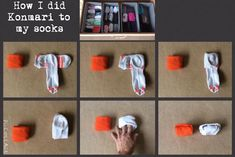 Fold your socks the KonMari way. Fold your socks the KonMari way. Sock Organization, Home Organisation, Flylady, How To Fold Shorts, Folding Socks, Organize Life, Organize Socks, Organizar Closet, Diy Rangement