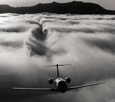 plane from clouds