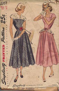 Vintage 1940's Women's Dress Pattern by AtomicRegeneration on Etsy, $9.95