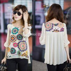New 2014 Hot Fashion Summer Loose Women's Print Short-sleeve Chiffon Flower Blouses Women Casual Plus size Shirt  Top XXXXL 6675