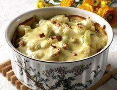 Blomkålgrateng med skinke og ost | FRUKT.no Vinaigrette, Cheeseburger Chowder, Macaroni And Cheese, Dip, Food And Drink, Cooking Recipes, Dinner, Ethnic Recipes, Meat
