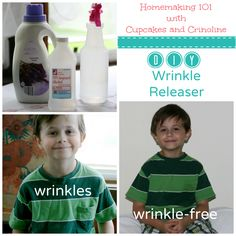 DIY wrinkle release spray 8ounces distilled or bottled water, 1 teaspoon rubbing alcohol,1 teaspoon fabric softener.