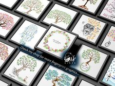 Graphics ◆ Drawings ◆ Fingerprint trees ◆ Photos by OctopusRiderArt Wedding Fingerprint Tree, Baby Shower Fingerprint, Fingerprint Art, Birthday Party Decorations, Wedding Decorations, Presentation Pictures, Gift Drawing, Black And White Tree, Memory Tree