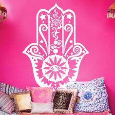 Art nouveau Design maison décor vinyle Fatima Hamsa main stickers muraux pvc amovible décoration de la maison Arabian religion chanceux Yoga autocollant dans Autocollants muraux de Maison & Jardin sur AliExpress.com | Alibaba Group