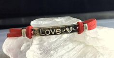 Red Suede and Silver LOVE Bracelet  LOVE and Heart Bar Style