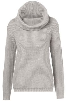 Topshop Knitted Rib Roll Neck Jumper
