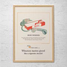 WINSTON CIGARETTE AD - Winston Cigarettes Advertisement - Mid Century Ad, Retro Cigarette Ad, Retro Kitsch Wall Art, 50's Advertising
