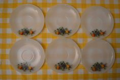 Arcopal Fruits de France / lot of 6 milkglass by KidsAndKitchen Glass Baking Dish, Milk Glass, Decorative Plates, France, Dishes, Fruit, Unique Jewelry, Tableware, Handmade Gifts