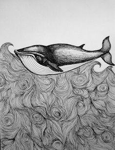 Whale illustration by lena öberg