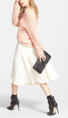 Blush sweater with white midi sirt for fall. The plunging V-back adds a flirty detail to this over-sized pink knit sweater. @nordstrom