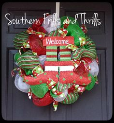 Christmas Wreath Deco Mesh Christmas Wreath by SouthernThrills, $52.00