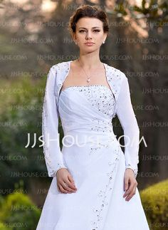 Wraps - $42.99 - Long Sleeve Chiffon Wedding Wrap (013024368) http://jjshouse.com/Long-Sleeve-Chiffon-Wedding-Wrap-013024368-g24368