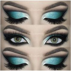 Dramatic Aqua Blue Cut Crease! | Make-Up (Blue-Eyes) Hair & Body |... ❤ liked on Polyvore featuring beauty products, makeup, eye makeup, eyes and beauty