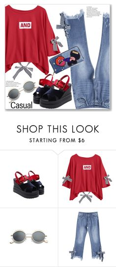 """""""Casual Letter Print Tee"""" by jecakns ❤ liked on Polyvore featuring Marc Jacobs"""