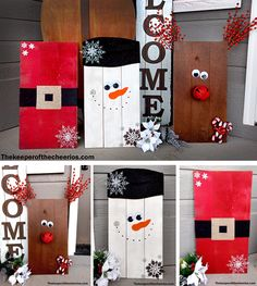 Easy Christmas Wood Pallets Materials: Misc sizes and shapes wood pallets Large wiggle eyes Misc snowflakes Large red bell (found mine at a local dollar store) Orange felt Extra wide black ribbon or black craft foam Gold Ribbon Black sharpie…Read more - Wooden Christmas Decorations, Christmas Wood Crafts, Pallet Christmas, Christmas Signs, Outdoor Christmas, Christmas Projects, Simple Christmas, Holiday Crafts, Pallet Decorations
