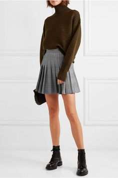 Maje skirt at netaporter Pleated Skirt Outfit Short, Mini Skirt Outfit Winter, Plaid Pleated Skirt, Plaid Skirts, Skirt Outfits, Dress Skirt, Mini Skirts, Tennis, Sports Skirts