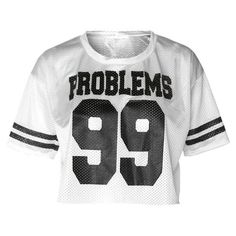 Athletic Jersey Cropped Tee, 'PROBLEMS 99' White (1.020 UYU) ❤ liked on Polyvore featuring tops, shirts, crop tops, t-shirts, cropped and white jersey
