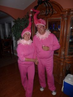 Pink flamingo. ..he won't wear sock monkey costume...do i dare ask about this? Lol
