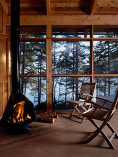 Small fireplace for cabin porch