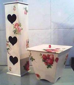 O porta papel higiênico em MDF, pintada à mão, é extremamente prática e nota 10 na organização e decoração de banheiros e lavabos, tudo em seu devido lugar. Nessa versão cabem 5 rolos de papel num composê com a lixeirinha.      PORTA PAPEL HIGIÊNICO - 16 x 16 x 57cm alt - 2500g  LIXEIRA - 28 x 24...