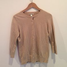 Banana Republic Cardigan Tan Polka Dots Size M Perfect adorable Cardigan to throw on for spring and summer! Great condition. Banana Republic Sweaters Cardigans
