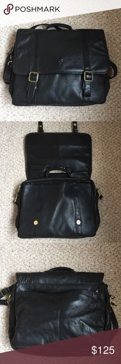 BRIEFCASE Beautiful soft black Leather BRIEFCASE. The leather is beautifully broken in from wear.  There are no rips or tears. The last photo show the flaws which does not interfere with use.  As shown, all the bronze metals have some discoloration.  Measurements are 13 by 16.   REASONABLE OFFERS ARE WELCOME. Accessories