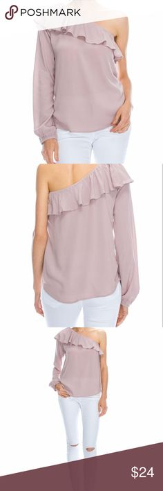 Blouse This woven top features an elasticized one-shoulder design, a ruffled flounce layer, long sleeve with an elasticized cuff perfect for spring, summer and fall.  Pairs with so many different bottoms for a dressed down or dressed up look!  You will be a show stopper in this one-shoulder beauty!  **NOTE- THIS BLOUSE IS IN DEEP BLUE ONLY!   Fabric: 100% Rayon Lining: none Length: 22 inches Sleeve length: 26 inches Small - 2/4  (Bust 35-36) Medium - 6/8  (Bust 37-38) Large - 10/12  (Bust…