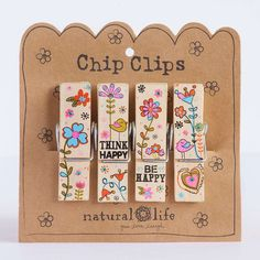 Think Happy Crazy Love Chip Clips - Set of four patterned chip clips with fun…