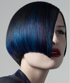 Color Love  A medium blue   straight coloured multi-tonal hairstyle by Rush