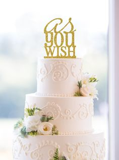 Glitter As You Wish Cake Topper – Custom Princess Bride Wedding Cake Topper Available in 17 Glitter Options by ChicagoFactory on Etsy https://www.etsy.com/listing/205687130/glitter-as-you-wish-cake-topper-custom