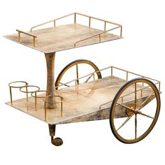 For Sale on - Very extraordinary bar trolley by Aldo Tura Milano, Italy, perfect condition. Furniture Sale, Table Furniture, Luxury Furniture, Vintage Furniture, Modern Furniture, Furniture Ideas, Vintage Bar Carts, Vintage Table, Brass Bar Cart