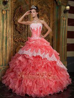 Beautiful Waltermelon Quinceanera Dress Strapless Ruffles Organza Ball Gown