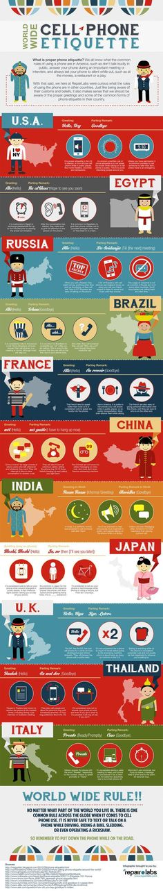 If you're traveling or making an international call, it's good to know cultural differences so you can be polite. http://www.luggagefactory.com/travelpro-luggage/travelpro-maxlite-3-25in-expandable-rollaboard-4011325 This infographic from RepairLabs explains the common tendencies different cultures have using cell phones.