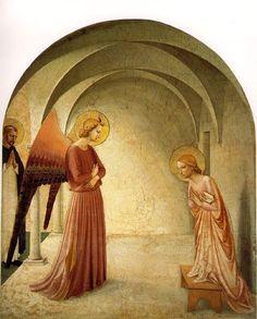 """Fra Angelico (1400-1455) - """"L'Annonciation"""" - Scène avec présence de Saint Pierre de Vérone (à gauche) - Peinture à fresque, 176 × 148 cm - Couvent San Marco, cellule III - Florence, Italie."""