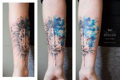 Blue Lion - Aquarell Tattoo