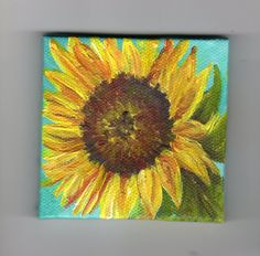 Yellow Sunflower Original on aqua mini painting on Canvas with Easel. $22.00, via Etsy.