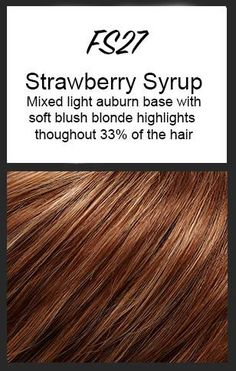 Color swatch showing Jon Renau's FS27: Strawberry Syrup - mixed light auburn base with soft blush blonde highlights throughout 33% of the hair