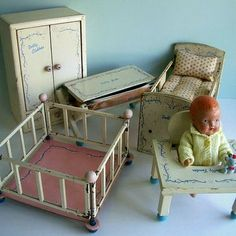 1930s Baby Doll with Matching Set of Furniture - Crib, Wardrobe, Bathinette, Walker Table,
