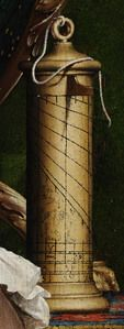 """Shepard dial, detail from.The Ambassadors, by Hans Holbein the Younger, 1533 (6 of 9 images). """"Among the clues to the figures' explorative associations are a selection of scientific instruments including two globes (one terrestrial and one celestial), a quadrant, a torquetum, and a polyhedral sundial,"""" Caption from link"""