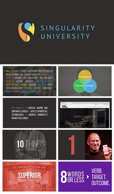 """On Entrepreneurship,"" modern PowerPoint presentation design for Singularity University by Pascal Finette, via Speaker Deck. Love the slide typography and monochromatic photo backgrounds!"