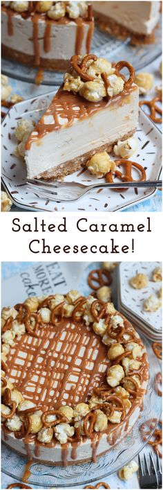 No-Bake Salted Caramel Cheesecake! A delicious No-Bake Cheesecake packed full of a Salted Caramel Cheesecake filling with Pretzels & Popcorn! No-Bake Salted Caramel Cheesecake! A delicious No-Bake Cheesecake packed full of a Salt Oreo Cheesecake, Easy No Bake Cheesecake, Salted Caramel Cheesecake, Baked Cheesecake Recipe, No Bake Desserts, Delicious Desserts, Desserts Caramel, Salted Caramels, Raspberry Cheesecake