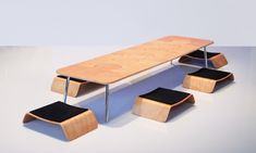 Check out the amazing tiny box this entire Japanese-style table and chairs fit into. Party in a box.