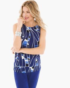 """Show off your fabulous style in a majestic mosaic pattern of breathtaking blues. This reversible tank can be worn as a stylish scoopneck or bateau top.     Travel-friendly, wrinkle-resistant fabric.      Reversible styling.    Length: 24.5"""".     Acetate, spandex.    Machine wash. Made in the USA."""