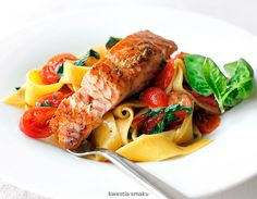 Grilled Salmon w/ Cherry Tomatoes & Pasta