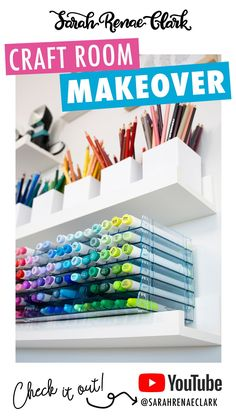 Looking for marker storage ideas, pencil storage ideas or craft room decorations? Take a tour with Sarah Renae Clark through her new craft space - with plenty of DIY craft storage ideas for your dream craft room! #craftrooms #craftroom Craft Room Storage, Craft Organization, Storage Ideas, Craft Space, Space Crafts, Marker Storage, New Crafts, Room Decorations, Wall Spaces