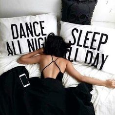 'Dance All Night, Sleep All Day!' - the perfect mantra for any party girl or guy! These pillow cases would make a great gift for students or teens, and are sure to brighten up any halls of residence!